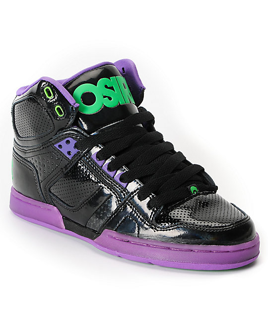 Osiris NYC 83 Slim Black, Purple & Green Shoes