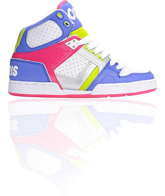 Osiris NYC 83 Slim Blue, Lime, & Pink Shoes