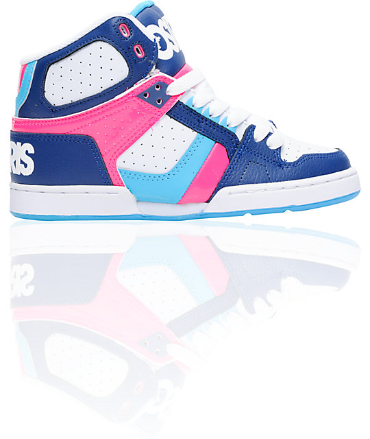 Osiris NYC 83 Slim Navy, Pink, & Cyan Shoes