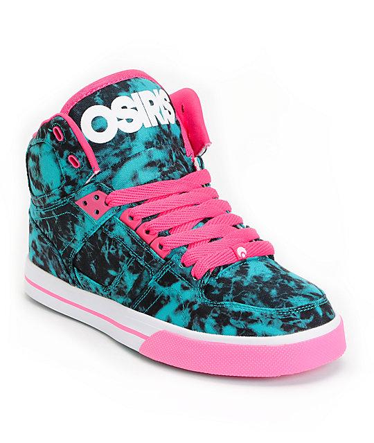 osiris nyc 83 slim teal pink white shoes