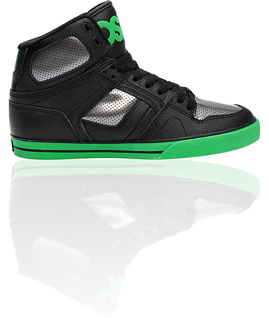 Osiris NYC 83 VLC Black, Gunmetal, & Green Shoes
