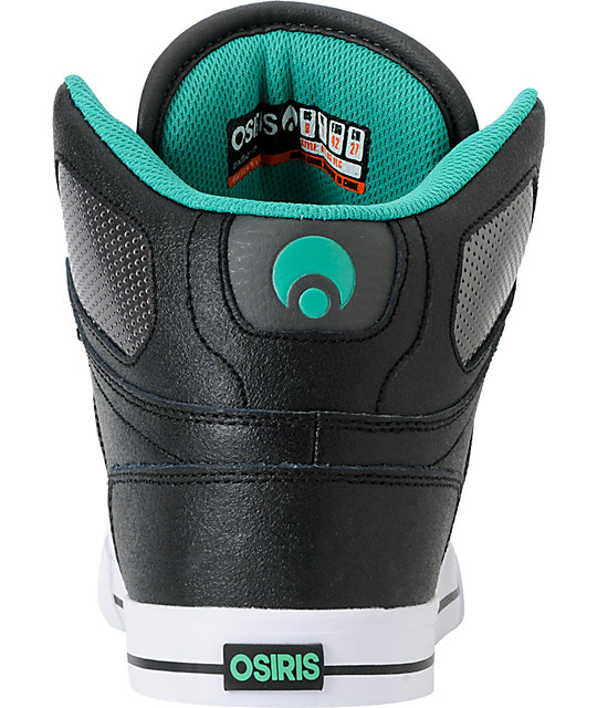 Osiris NYC 83 VLC Black, Gunmetal, & Teal Shoes