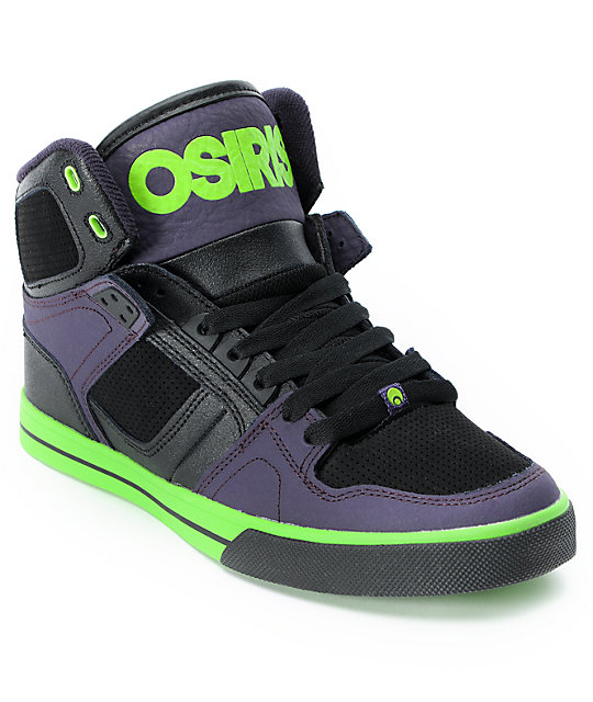 Osiris NYC 83 VLC Black, Purple, & Lime Green Skate Shoes