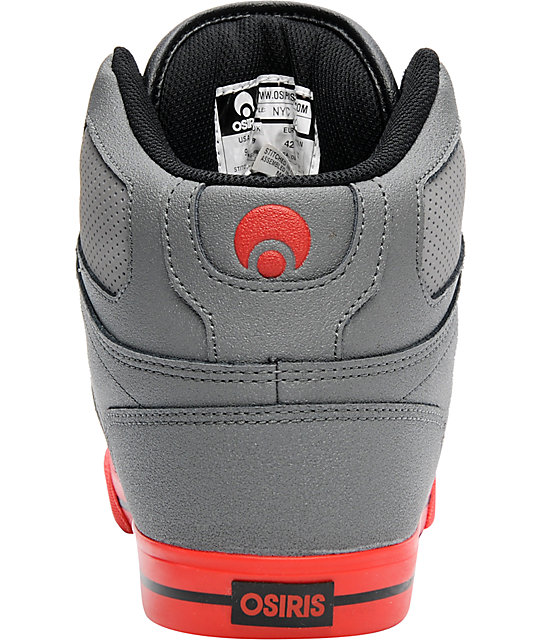 Osiris NYC 83 VLC Charcoal, Grey & Red Shoes