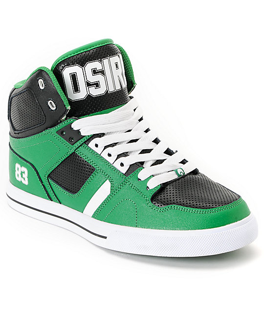 Osiris NYC 83 Vulc Baller Series Green, White & Black Shoes