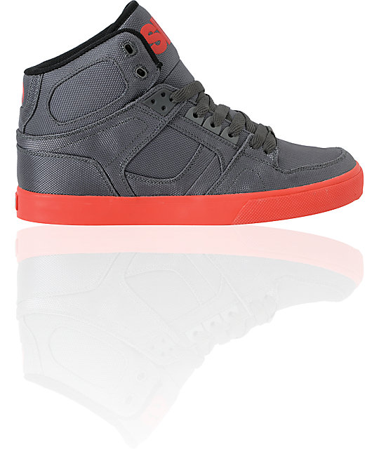 Osiris NYC 83 Vulc Ballistic Charcoal & Red Skate Shoes