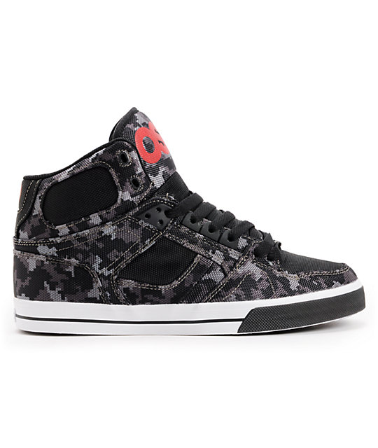 Osiris NYC 83 Vulc Black, Digital Camo,  & Red Skate Shoes