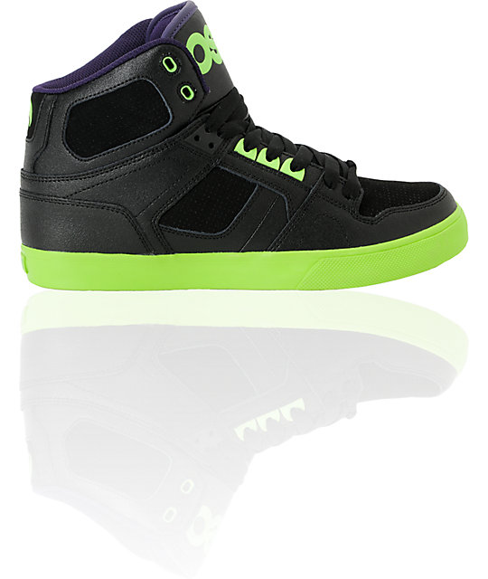 Osiris NYC 83 Vulc Black, Lime, & Purple Shoes