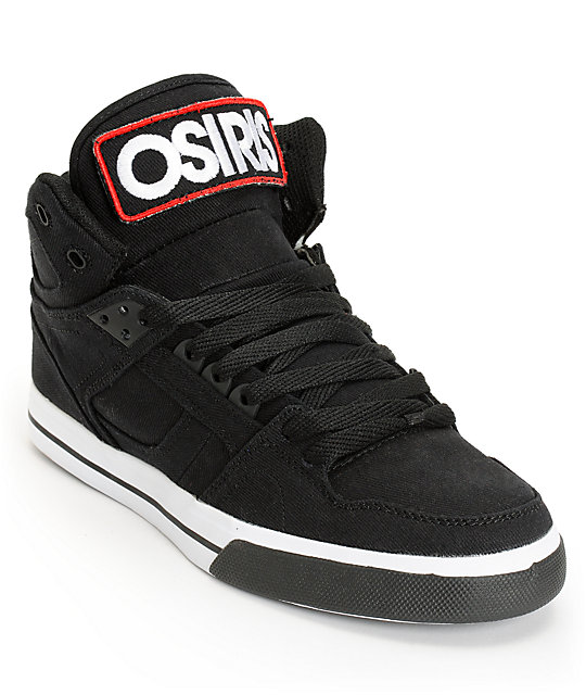 Osiris NYC 83 Vulc Black, White, Patch Canvas Skate Shoes