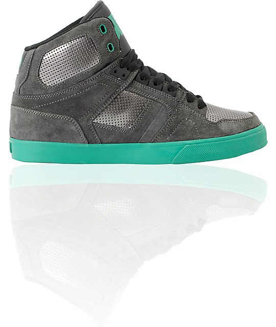Osiris NYC 83 Vulc Grey & Green Suede High Top Shoes