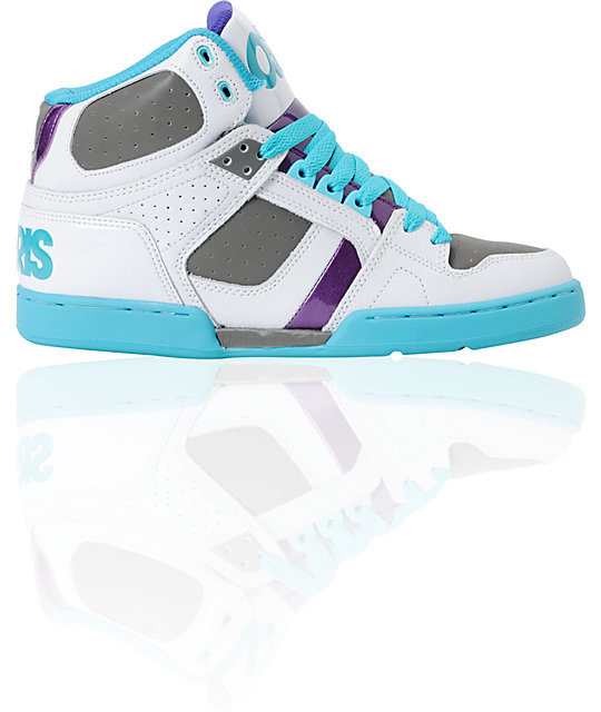 Osiris NYC 83 White, Purple & Teal Skate Shoes