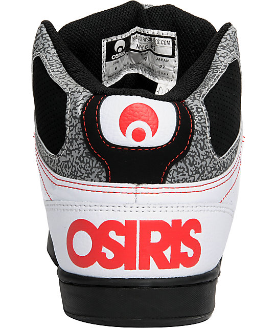 Osiris NYC 83 White & Black Crackle Shoes