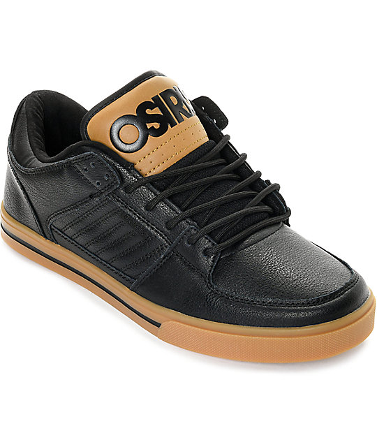 Osiris Protocol Black Leather & Gum Skate Shoes