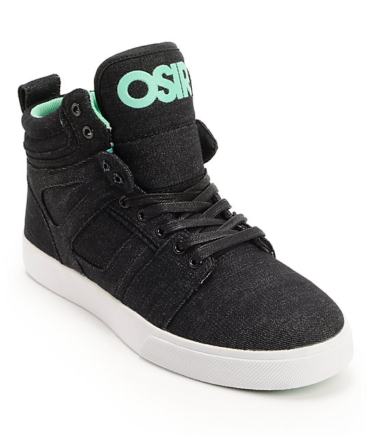 Osiris Raider Black & Mint Denim Skate Shoes