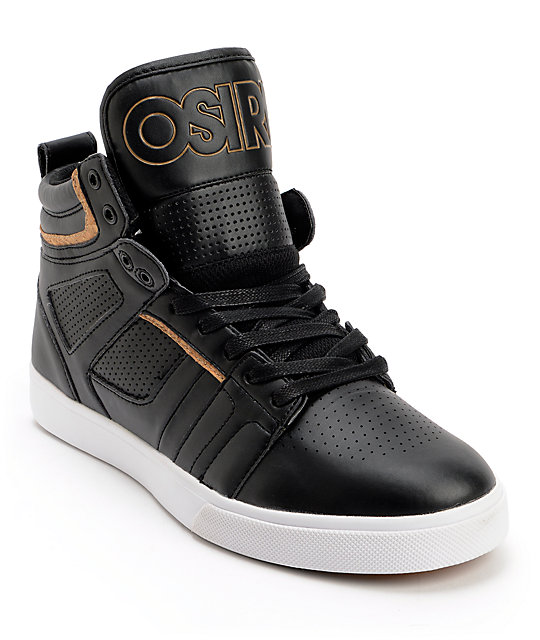 Osiris Raider Black & Tan Leather Skate Shoes