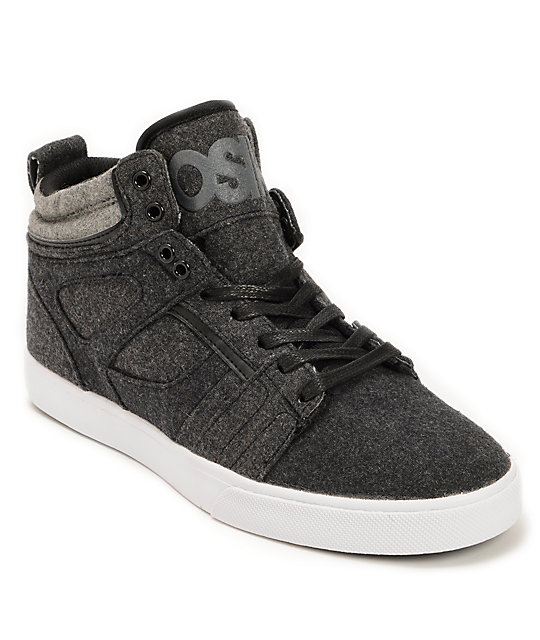 Osiris Raider Charcoal, Grey, & Black Wool Skate Shoes