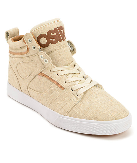 Osiris Raider Cream, Brown, & Cork Canvas Skate Shoes