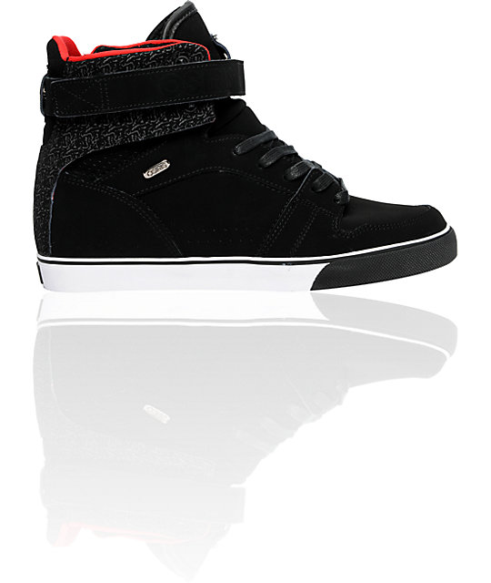 Osiris Rhyme Remix Black, Red & White Lined Shoes