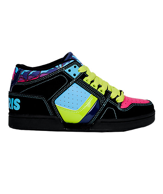 Osiris South Bronx Black, Blue, Lime & Pink Shoes