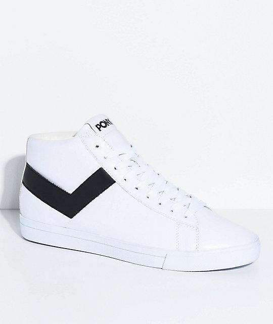 Pony Topstar Hi White \u0026Amp; Black Shoes