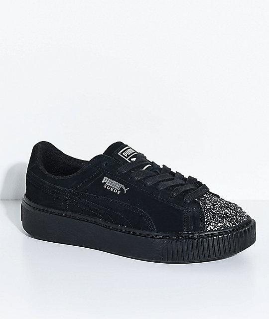 puma shoes suede black. puma suede platform crushed gem \u0026 black shoes puma