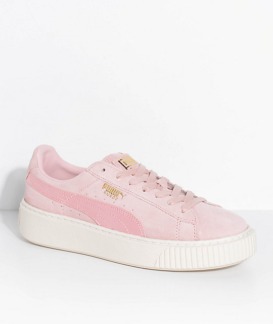 puma suede platform mono satin pink shoes zumiez. Black Bedroom Furniture Sets. Home Design Ideas
