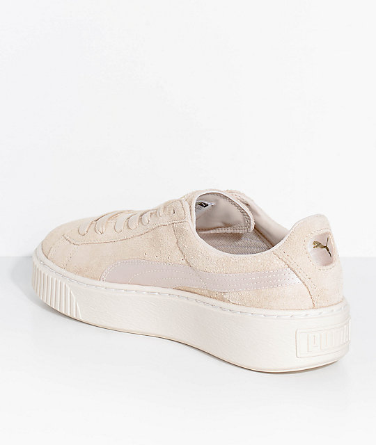 PUMA Suede Platform Mono Satin White Shoes