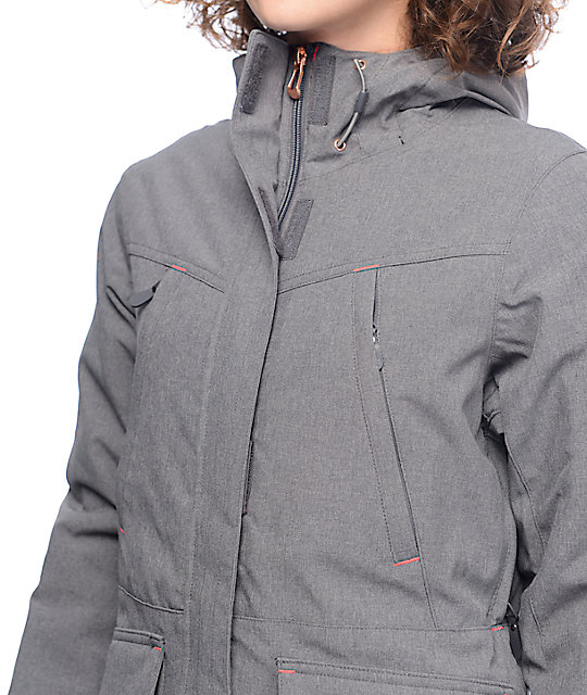 PWDR Room Becca Grey Textured Snowboard Jacket