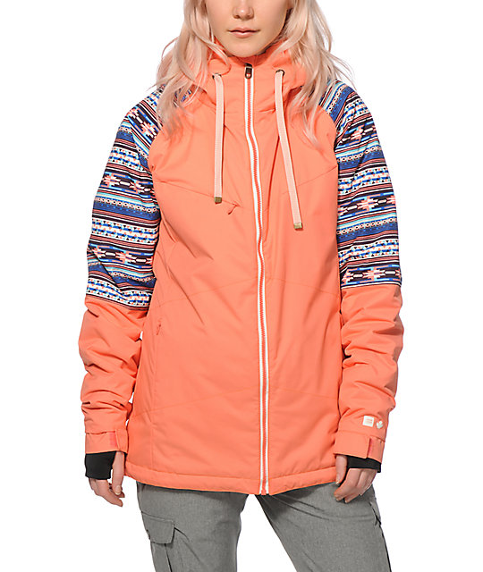 Superior Powder Room Snowboard Jackets Part - 8: PWDR Room District Coral Tribal 10K Snowboard Jacket ...