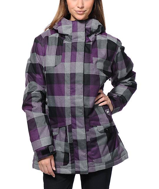 PWDR Room Hotel Print Black & Purple 5K Snowboard Jacket