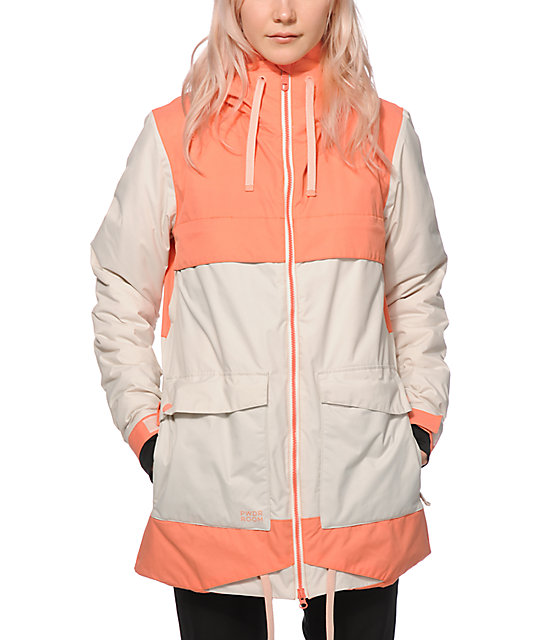 Powder Room Snowboard Jackets Part - 24: PWDR Room Village Coral Colorblock 10K Snowboard Jacket