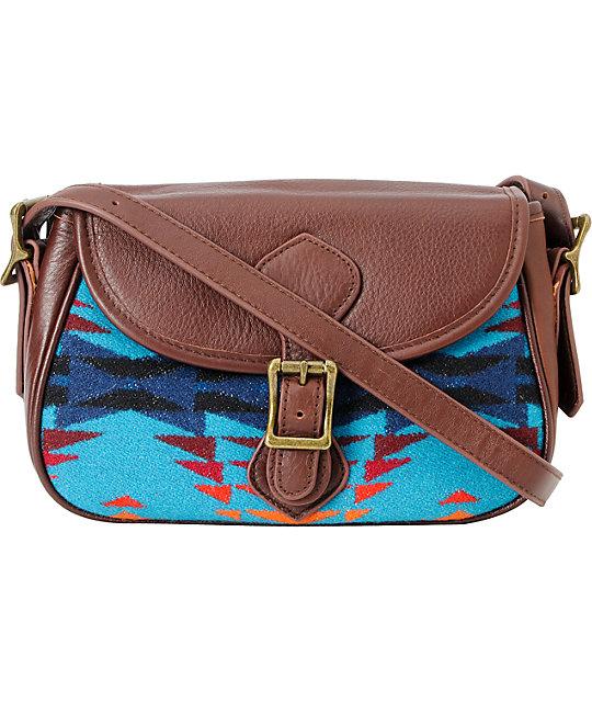 Pendleton Native Print Leather Handbag