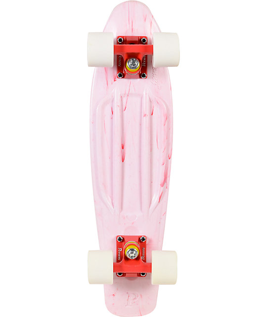 "Penny Original LTD Marble White & Red 22.5""  Cruiser Complete Skateboard"
