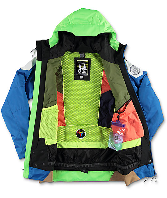 Neon green snowboard jacket