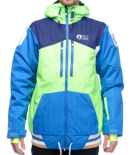 Picture Panel Neon Green and Picture Blue Snowboard Jacket