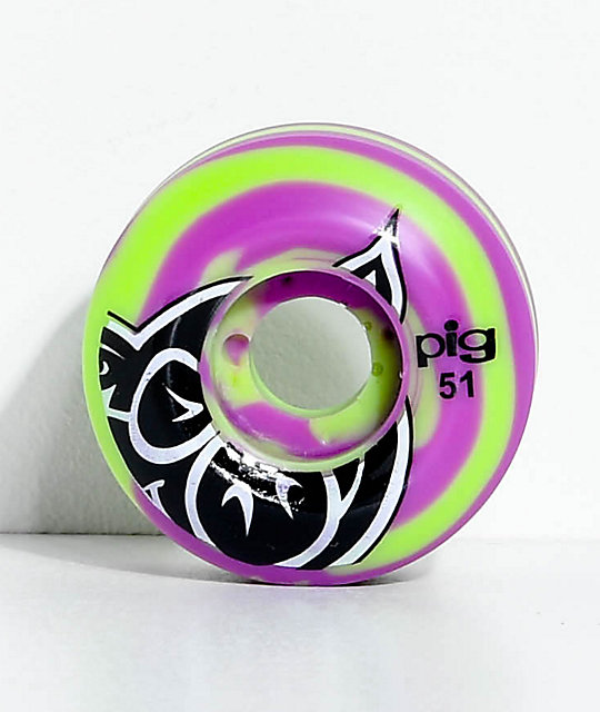 Pig Wheels Speed-Line 51mm Green & Purple Swirl Skateboard Wheels