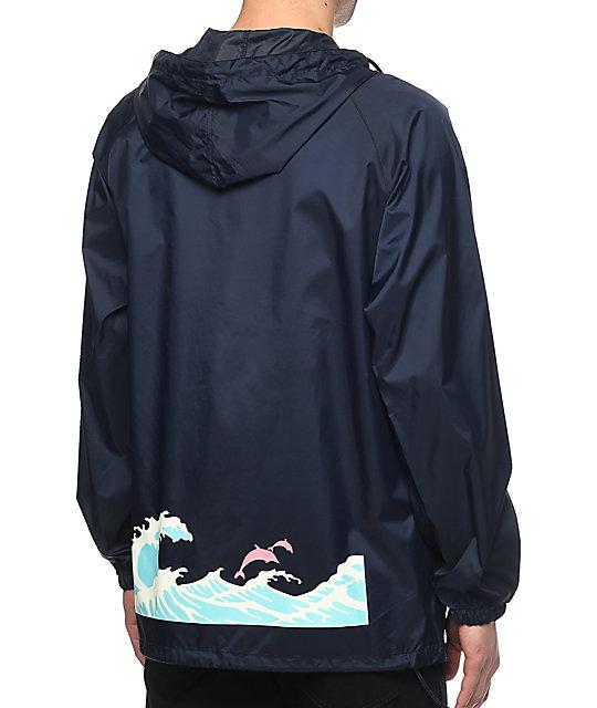 Pink Dolphin Core Tsunami Navy Windbreaker Jacket | Zumiez