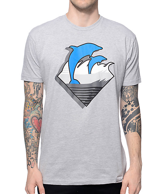 Pink Dolphin DMS Waves Heather Grey T-Shirt