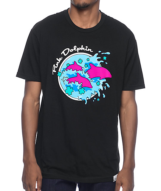 Pink Dolphin Enter The Wave Black T-Shirt at Zumiez : PDP