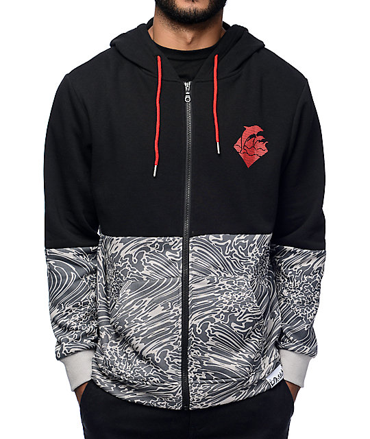 Pink Dolphin Riptide Script Black Zip Up Hoodie at Zumiez : PDP