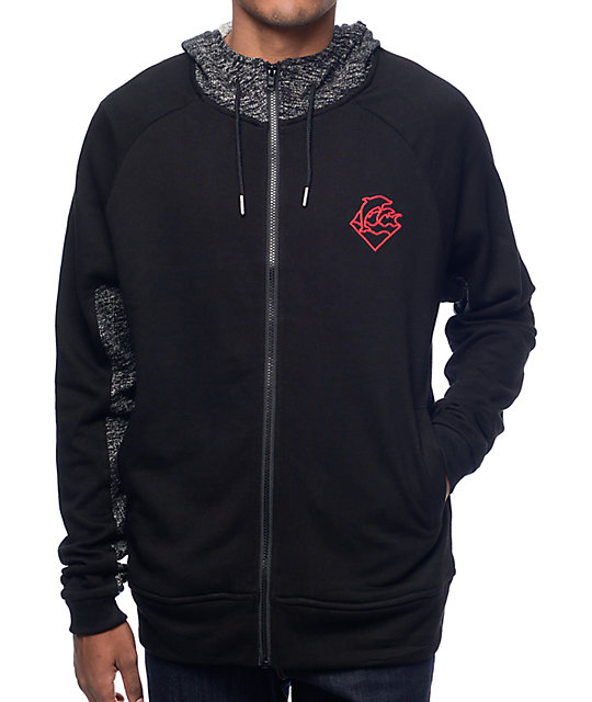 Pink Dolphin Tech Terry Black Zip Up Hoodie at Zumiez : PDP
