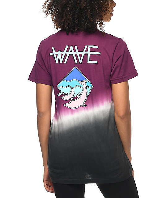 Pink Dolphin Wave Maroon Dip Dye T-Shirt