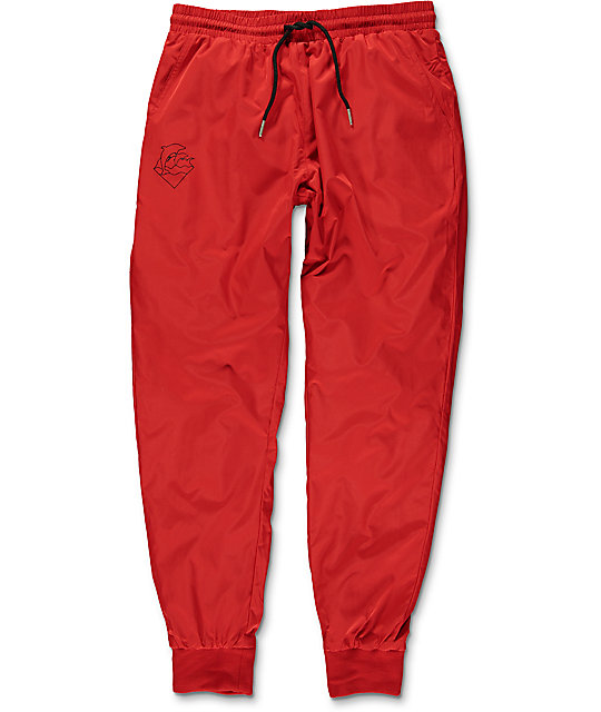 Pink Dolphin Waves Red Nylon Pants
