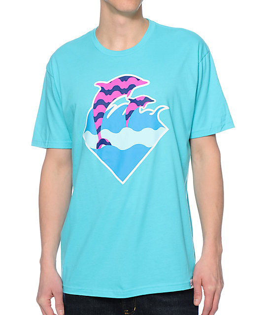 Dolphin Waves Turquoise T-Shirt