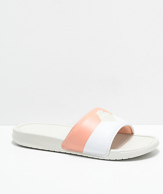 Pink Dolphin Waves Two Tone Creme Slide Sandals