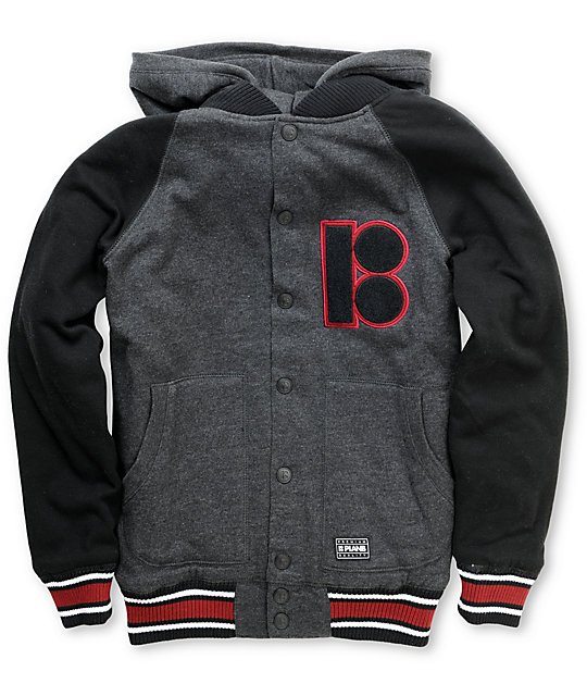 Plan B Boys Grade A Black Varsity Hoodie Sweatshirt