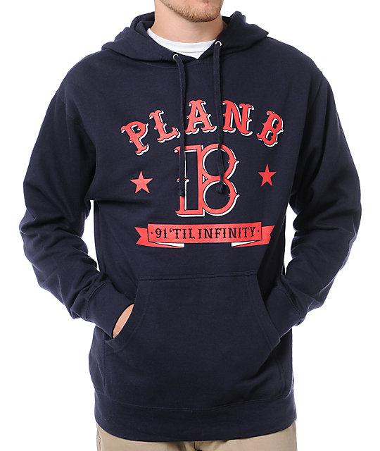 Plan B Pennant Navy Blue Pullover Hoodie