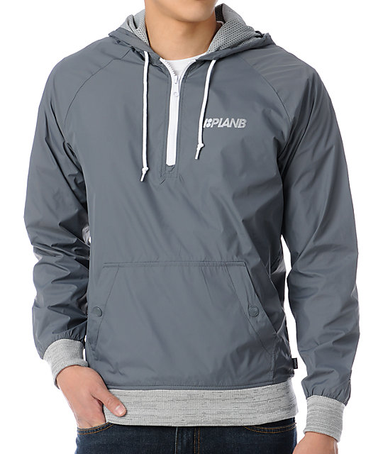Plan B World Class Grey Pullover Windbreaker Jacket at Zumiez : PDP