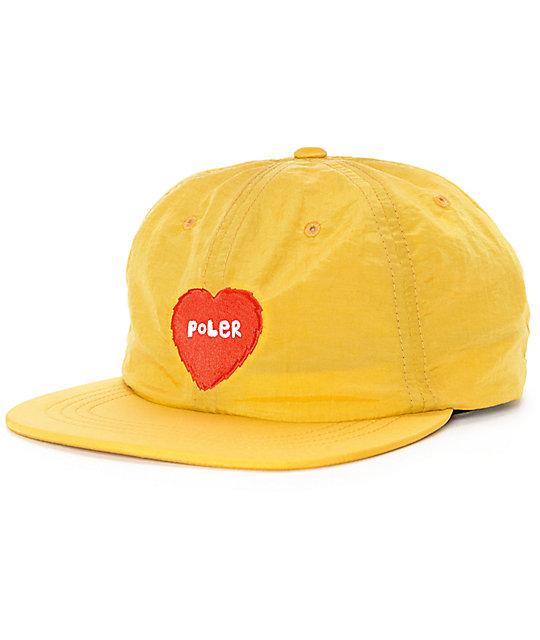 Poler Furry Heart Mustard Floppy Strapback Hat