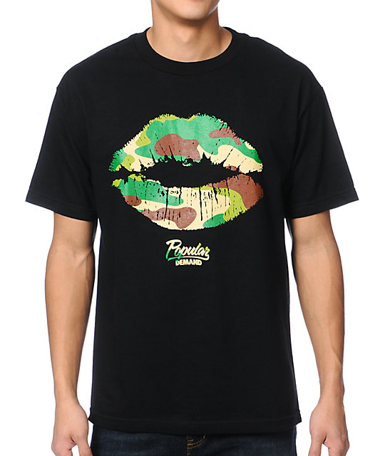 Popular Demand Camo Kiss Black T-Shirt